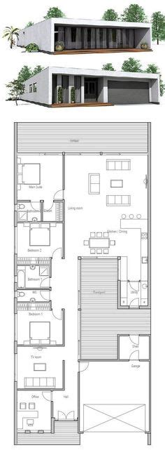 Modern Contemporary House Plan with three bedrooms and