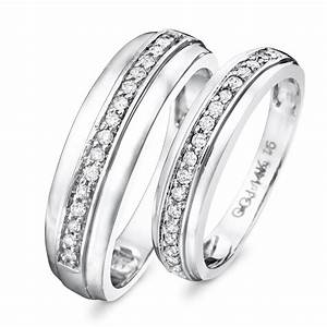 1 1 3 ct tw diamond his and hers wedding rings 14k With his and hers wedding rings white gold