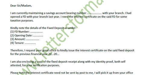 letter  bank  interest certificate  fixed deposit