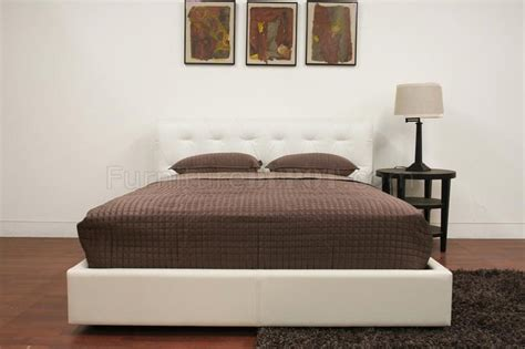 chesterfield platform bed   white leather