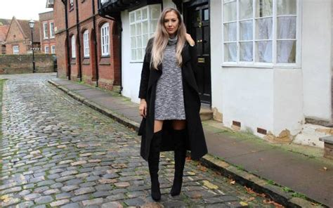 Picture Of With Gray Sweater Dress And Black Over The Knee Boots