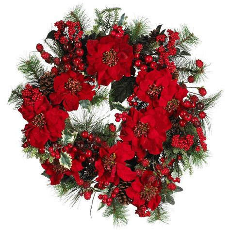 nearly natural 24 in poinsettia wreath 4660 the home depot