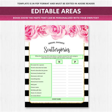Scattergories Bridal Shower Game Black and White