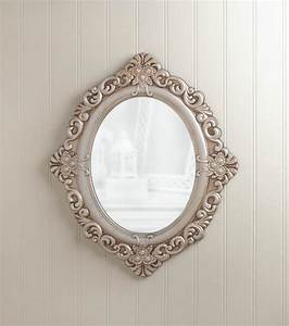 Vintage estate wall mirror antique style oval w wood frame