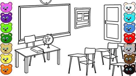 Classroom Coloring Pages School Classroom Coloring Pages For Children