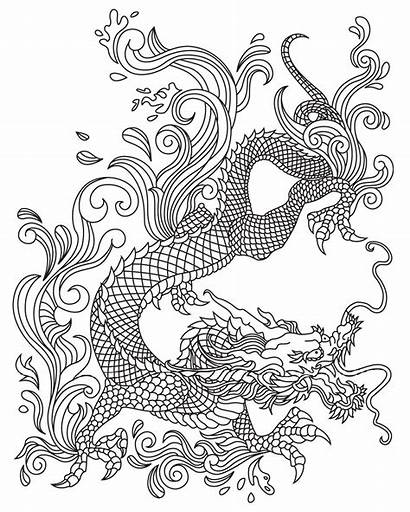 Coloring Dragon Snake Japanese Mandala Adult Colouring