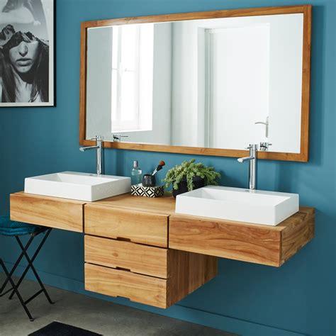 meuble de salle de bain en bois de teck suspendu 160 bois dessus bois dessous