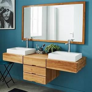Meuble Salle De Bain Suspendu : meuble de salle de bain en bois de teck suspendu 160 ~ Melissatoandfro.com Idées de Décoration