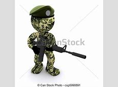 Clipart of 3d soldier textured with camouflage 3d