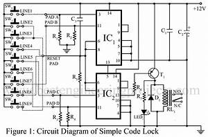 electronic code lock circuit best engineering projects With automotive electronic password lock circuit diagram protection