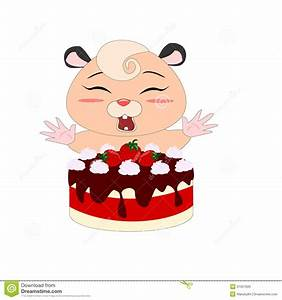 Cartoon Hamster With Strawberry Cake Stock Vector - Image ...