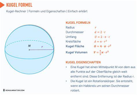 kugel  berechnen kugel volumen oberflaeche formel
