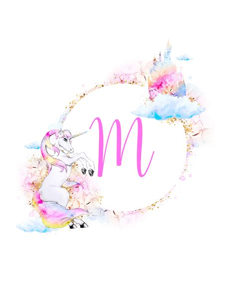 printable magical unicorn monogram collection  cottage market