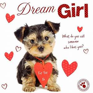 Dream Girl Cute Puppy Dog Valentine's Day Greeting Card ...