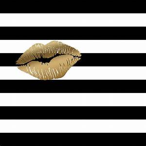 Metallic Gold Lips Black And White Stripes Painting by