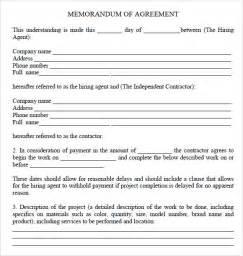 Sample Memorandum Agreement Template