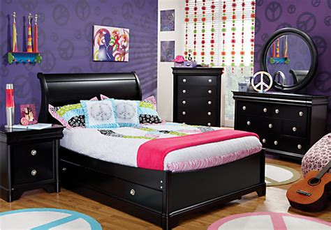 Oberon Black 6 Pc Full Sleigh Bedroom