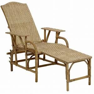 Siege En Rotin : chaise longue en rotin naturel inclinable ~ Teatrodelosmanantiales.com Idées de Décoration