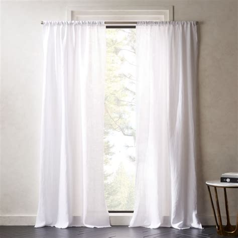 White Drapery by White Linen Curtains Cb2