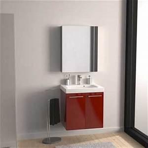 Petit Meuble Vasque : petit meuble de rangement de salle de bain sous vasque rouge ~ Edinachiropracticcenter.com Idées de Décoration