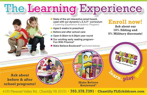 the learning experience chantilly va licensed child day 413   logo 225 Chantilly NowEnrolling HP new Flyer for Oct 2013