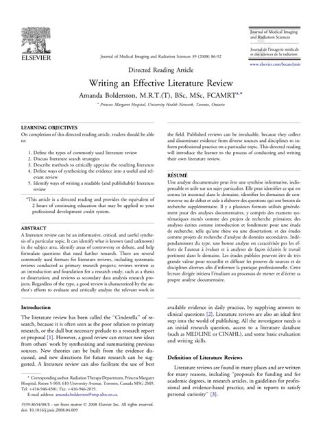 writing  effective literature review