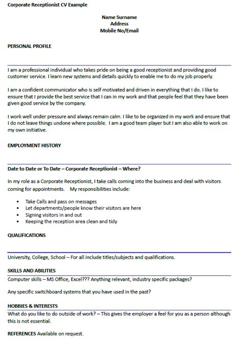 Nhs Resume Exle by Corporate Receptionist Cv Exle Icover Org Uk