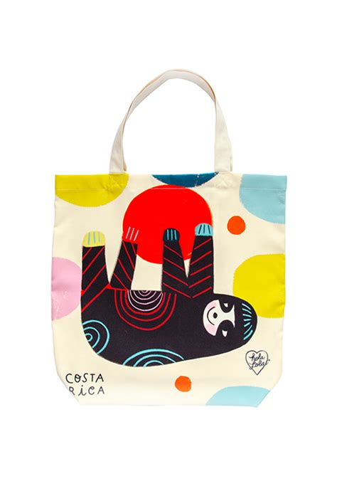 lucky sloth canvas travel tote bag inspired  costa ricas cutest sloth bears holalola