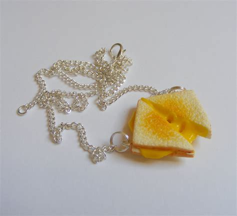 cuisine miniature food jewelry grilled cheese necklace miniature food