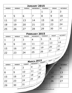 Printable 2015 Calendar Three Months Per Page Printable 2015 Calendar Three Months Per Page