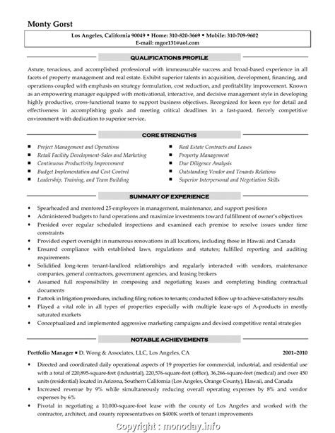 Property Management Resume by Free Property Management Resume Summary Property