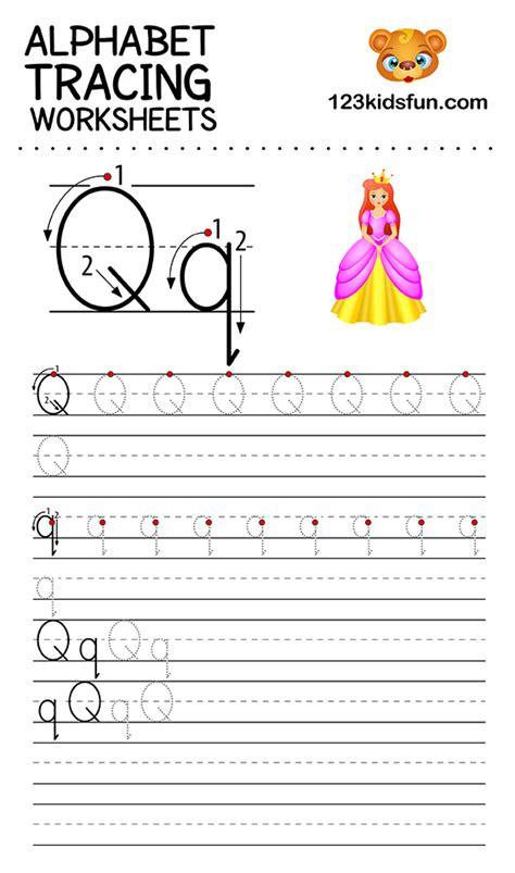 alphabet tracing worksheets    printable  kids