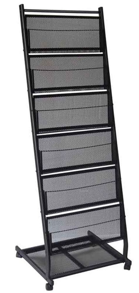 Display Racks by 6 Shelf Mobile Literature Display Rack Medium