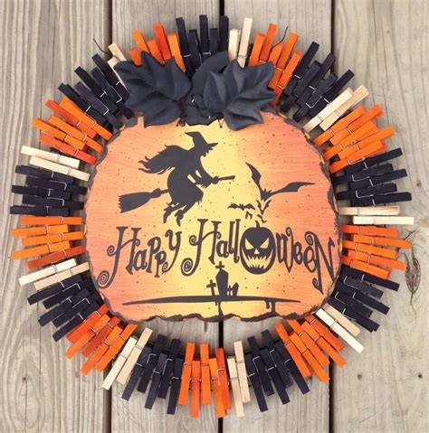 Pumpkin Witch Halloween Clothespin Wreath By