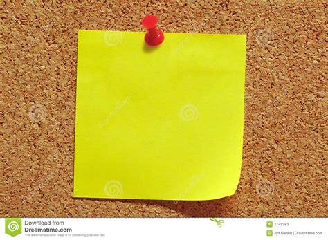 cork pin up post it note and push pin stock image image of memo
