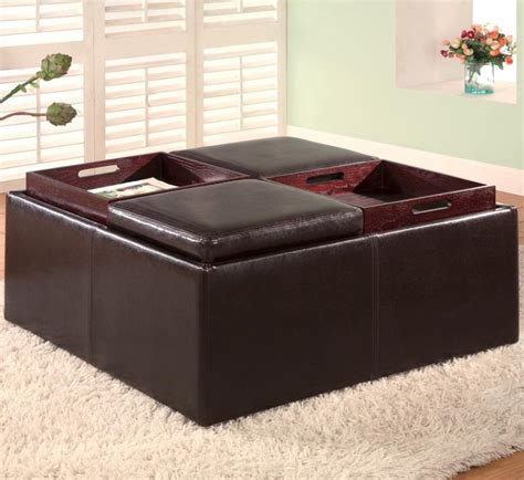 leather ottoman with storage and tray ottomans contemporary square faux leather storage ottoman