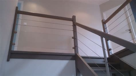 garde corps bois et inox int 233 rieur 224 remplissage c 226 bles inox et verre contemporain escalier