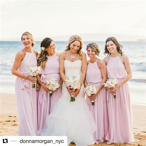 blush pink summer beach wedding bridesmaid dresses a line