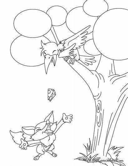 Coloring Ant Fox Story Grasshopper Pages Raven