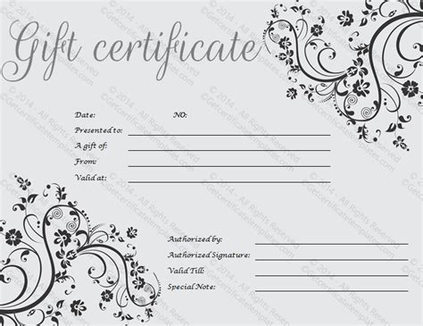 free printable photography gift certificate template gift certificate template print paper templates