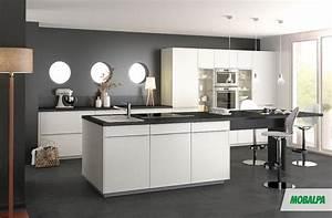 stunning cuisine blanc mur gris fonce pictures With cuisine gris et blanc