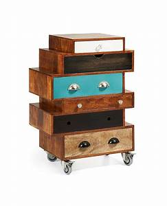 DROCAN Commode 6 Tiroirs Multicolores