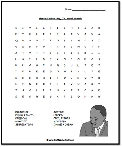martin luther king jr word search a to z stuff