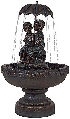 "Boy and Girl Under Umbrella 40"" High Indoor/Outdoor"