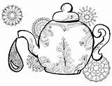 Tea Teapot Coloring Pages Adult Drawing Adults Printable Getdrawings Perfect Easy Cups sketch template