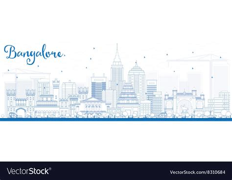Outline Bangalore Skyline With Blue Buildings Vector By Best Transparent Business Cards Artist Samples Red And Black Vector With Beach Background Create Blank In Word Card Printers Brisbane Credit High Limits Visiting Download