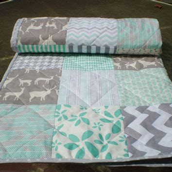 modern baby quilt mint from happyquilts on etsy