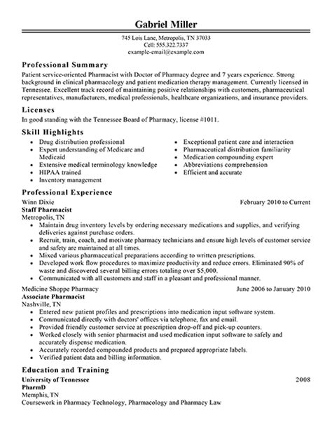 Exle Pharmacist Resume by Pharmacist Resume Exles Sle Resumes