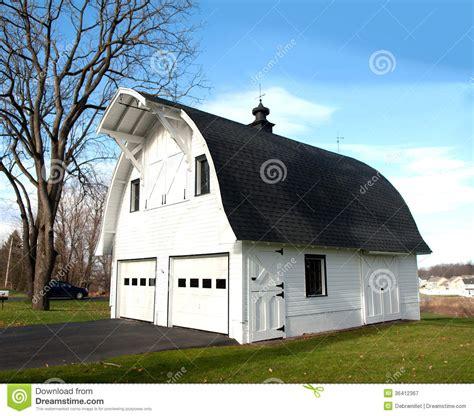 barn shaped garage stock image image  hill driveway