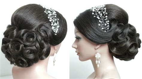 bridal hairstyle  long hair tutorial prom updo step